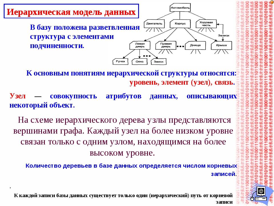 Иерархическая модель данных В базу положена разветвленная структура с элемент...