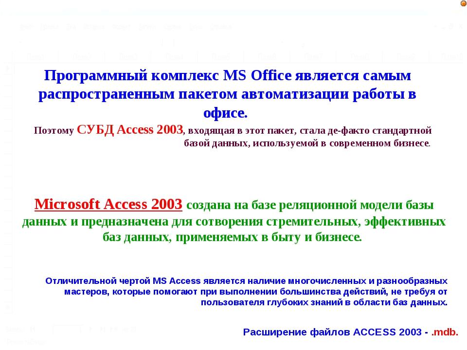 Microsoft Access 2003 создана на базе реляционной модели базы данных и предна...