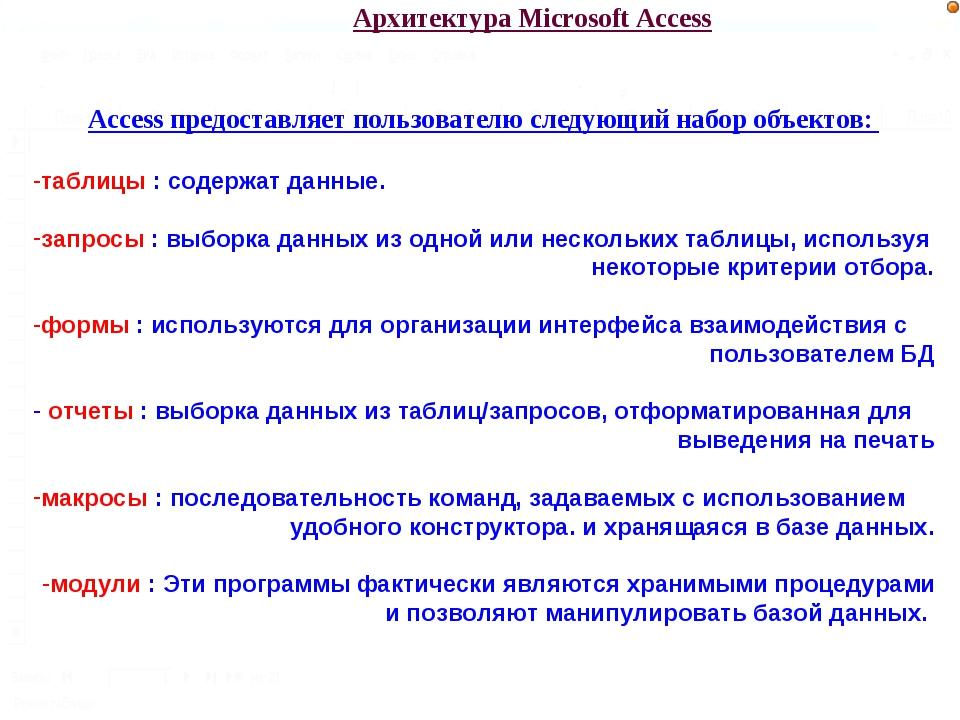 Архитектура Microsoft Access Access предоставляет пользователю следующий набо...