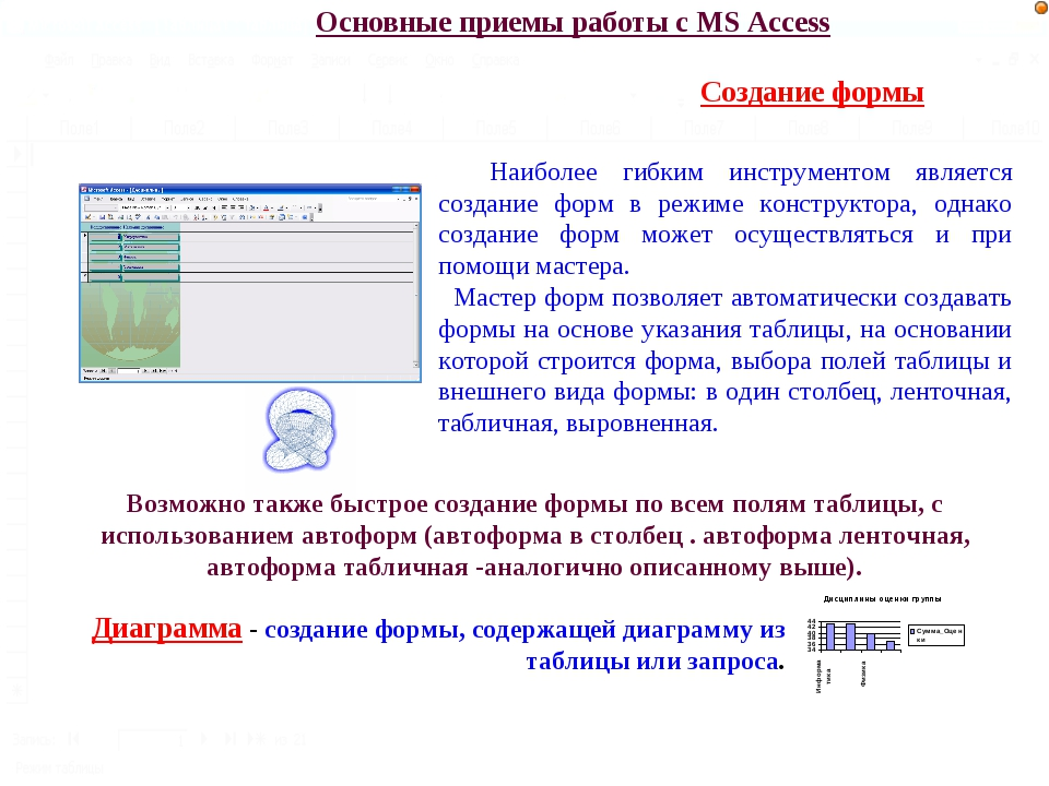 Основные приемы работы с MS Access Создание формы Наиболее гибким инструменто...