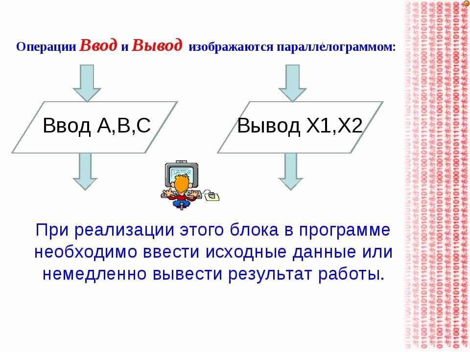 Операции Ввод и Вывод изображаются параллелограммом: При реализации этого бло...