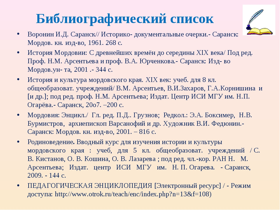 Библиографический список Воронин И.Д. Саранск// Историко- документальные очер...