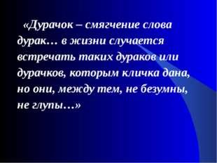 «Дурачок – смягчение слова дурак… в жизни случается встречать таких дураков