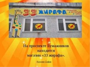 На проспекте Бумажников находится магазин «33 жирафа». Козлова София