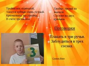 Сажин Иван Тройки нос курносый, Хвост и чубчик очень острый. Крючковата, но с