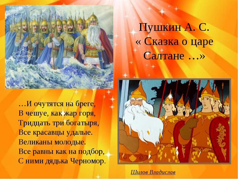Пушкин А. С. « Сказка о царе Салтане …» …И очутятся на бреге, В чешуе, как ж...