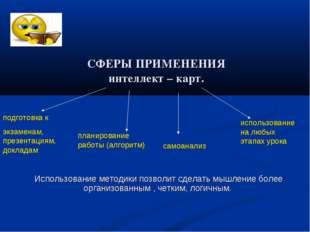 СФЕРЫ ПРИМЕНЕНИЯ интеллект – карт. подготовка к экзаменам, презентациям, докл