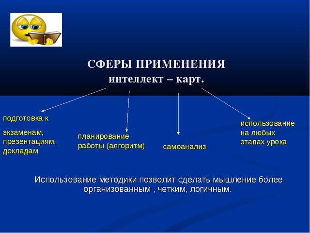 СФЕРЫ ПРИМЕНЕНИЯ интеллект – карт. подготовка к экзаменам, презентациям, докл...