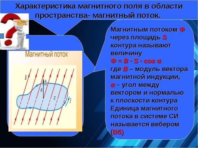 Характеристика магнитного поля в области пространства- магнитный поток. Магн...