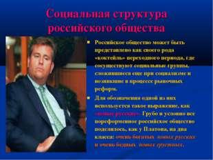 Социальная структура российского общества Российское общество может быть пред