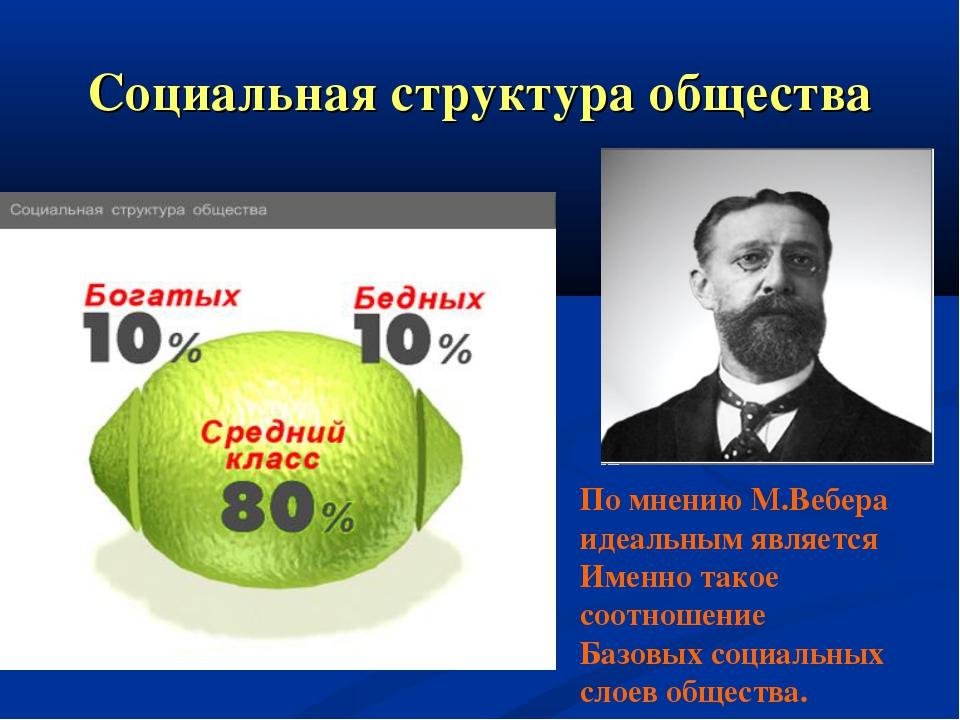 Социальная структура общества По мнению М.Вебера идеальным является Именно та...
