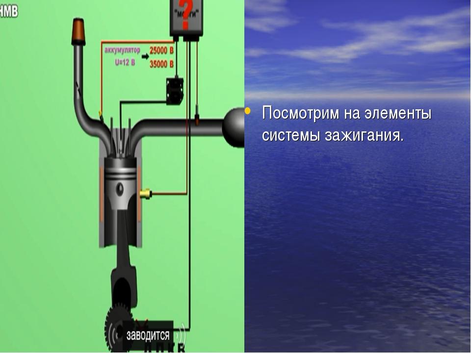Посмотрим на элементы системы зажигания.