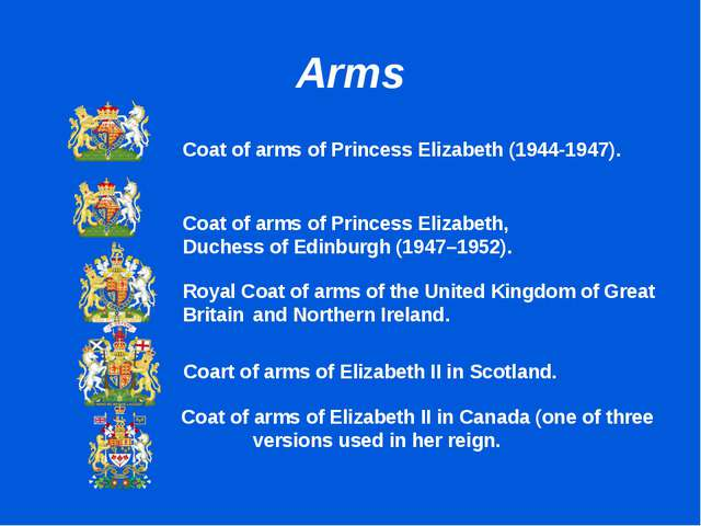 Arms 		Coat of arms of Princess Elizabeth (1944-1947). 		 		 			Coat of arms...