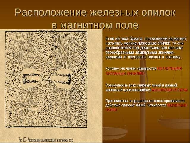 Расположение железных опилок в магнитном поле Если на лист бумаги, положенный...