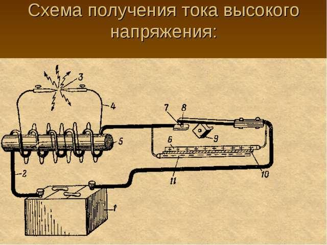Схема получения тока высокого напряжения: