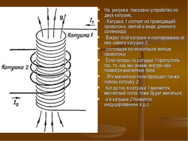 На рисунке показано устройство из двух катушек, . Катушка 1 состоит из провод...