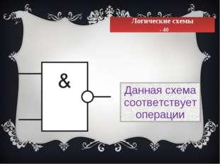 Логические схемы - 40 Данная схема соответствует операции