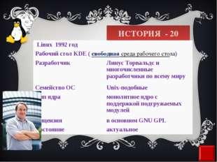 ИСТОРИЯ - 20 Linux 1992 год Рабочий столKDE ( свободнаясреда рабочего сто
