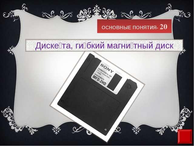 ОСНОВНЫЕ ПОНЯТИЯ- 20 Диске́та,ги́бкий магни́тный диск