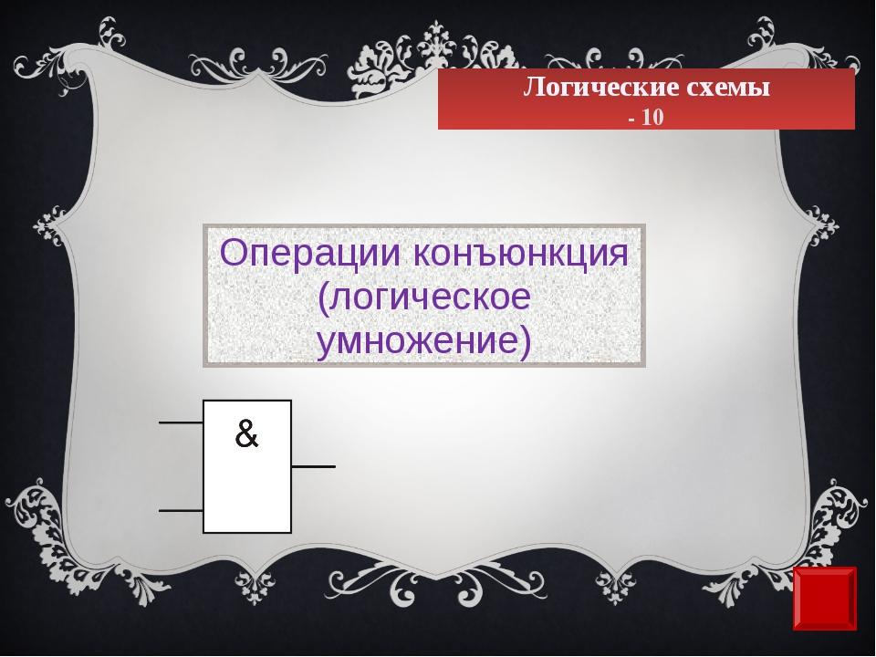 Логические схемы - 10 Операции конъюнкция (логическое умножение)