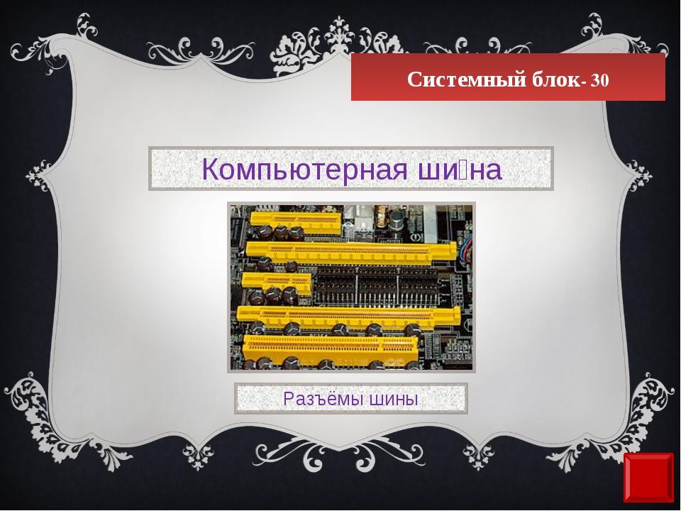 Системный блок- 30 Компьютерная ши́на Разъёмы шины