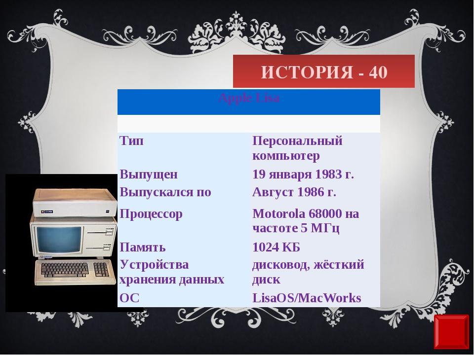 ИСТОРИЯ - 40 Apple Lisa  ТипПерсональный компьютер Выпущен19 января1983...