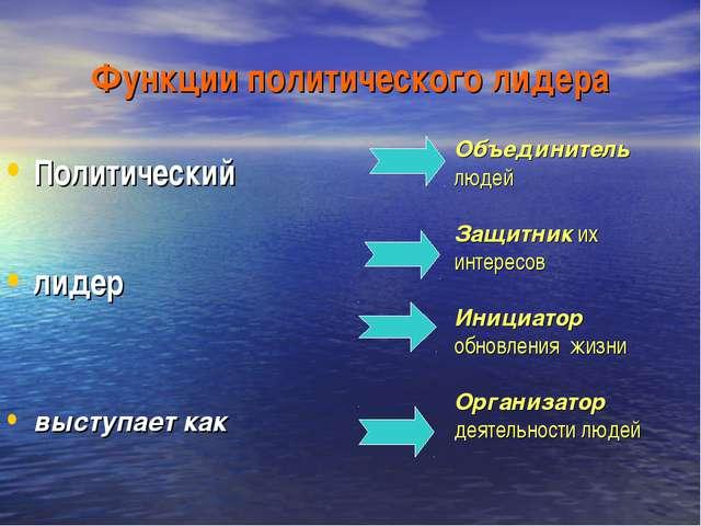 Функции политического лидера Политический лидер выступает как Объединитель лю...