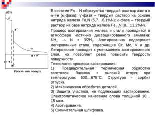 В системе Fe – N образуются твердый раствор азота в -Fe (-фаза); '-фаза –