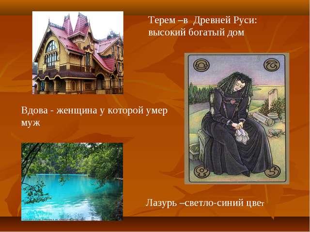 Терем –в Древней Руси: высокий богатый дом Вдова - женщина у которой умер муж...