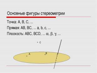 Основные фигуры стереометрии Точка: А, В, С, ... Прямая: АВ, ВС, ... a, b, c,
