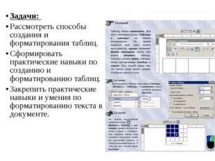 Задачи: Рассмотреть способы создания и форматирования таблиц. Сформировать пр