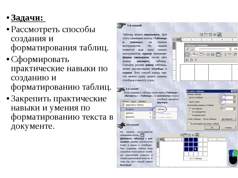 Задачи: Рассмотреть способы создания и форматирования таблиц. Сформировать пр...