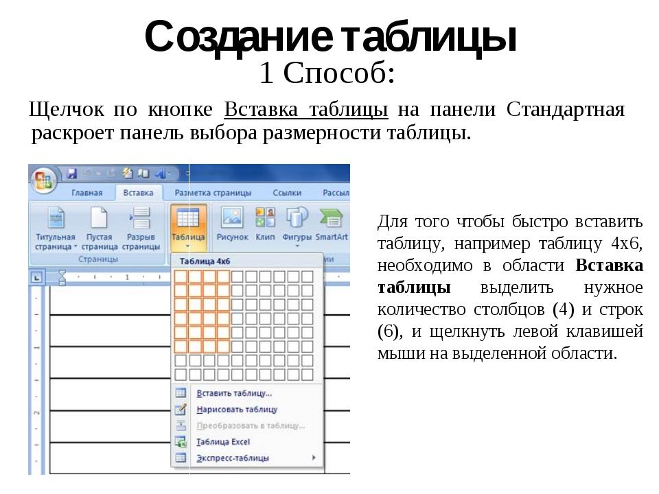 Создание таблицы 1 Способ: Щелчок по кнопке Вставка таблицы на панели Стандар...