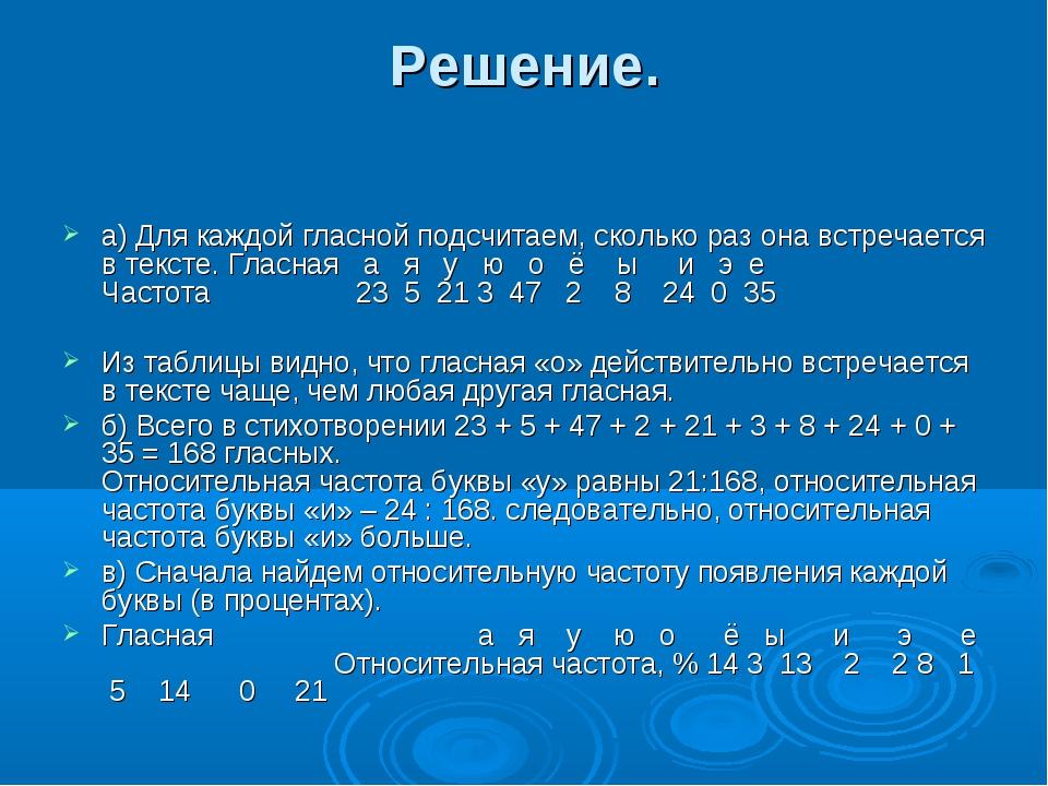 Решение. а) Для каждой гласной подсчитаем, сколько раз она встречается в текс...