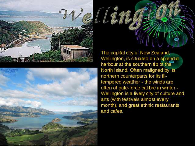 The capital city of New Zealand, Wellington, is situated on a splendid harbou...