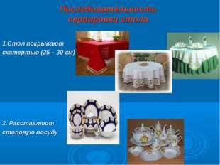Последовательность сервировки стола 1.Стол покрывают скатертью (25 – 30 см) 2