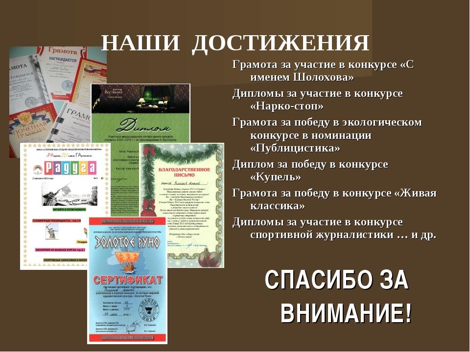 Грамота за участие в конкурсе «С именем Шолохова» Дипломы за участие в конкур...