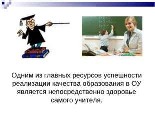 Однимиз главных ресурсов успешности реализации качества образования в ОУ явл