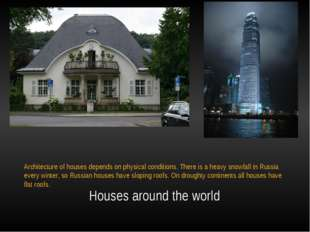 Houses around the world Architecture of houses depends on physical condition