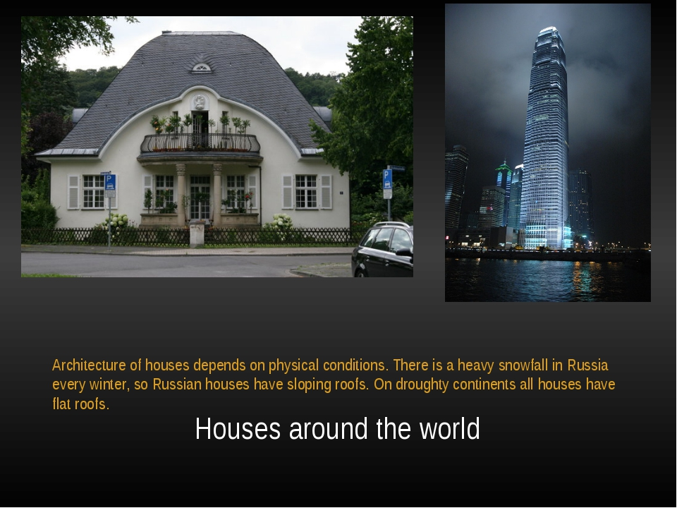 Houses around the world Architecture of houses depends on physical condition...