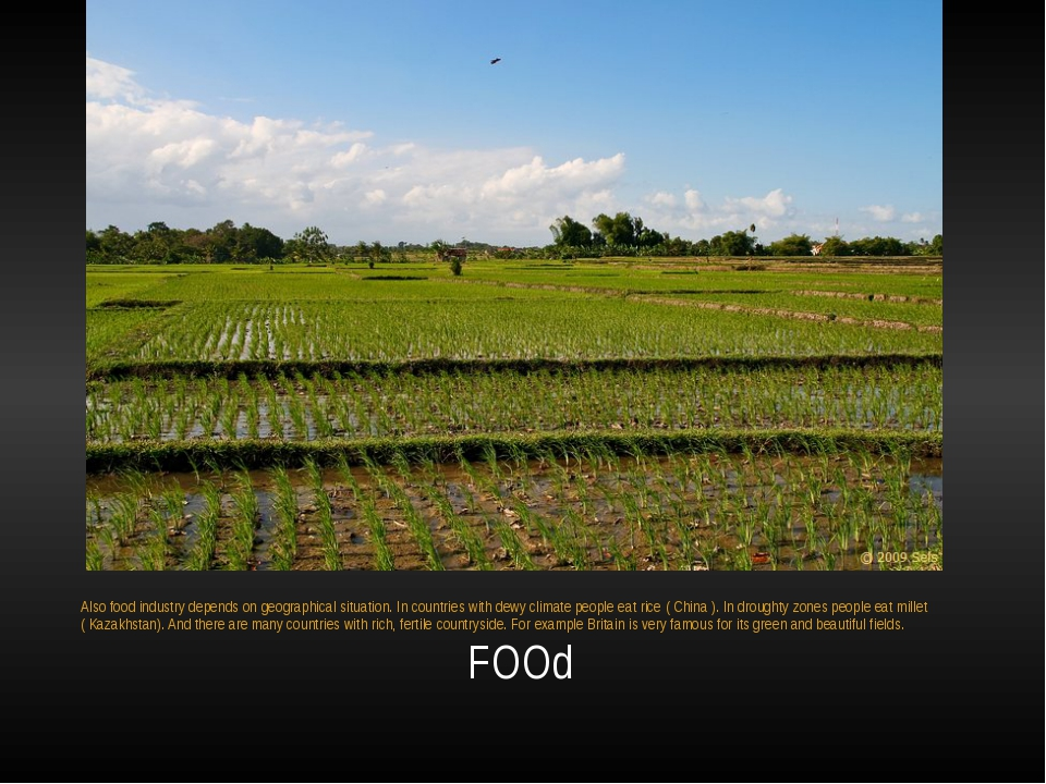 FOOd Also food industry depends on geographical situation. In countries with...