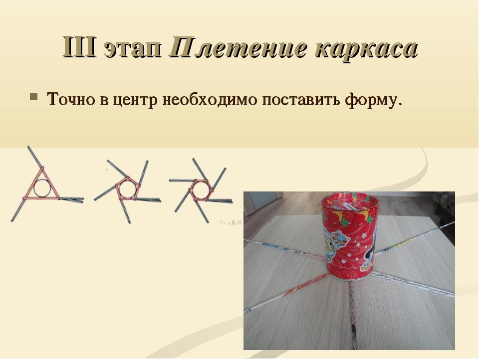 III этап Плетение каркаса Точно в центрнеобходимо поставить форму.