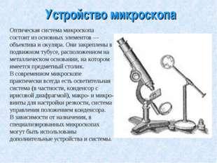 Устройство микроскопа Оптическая система микроскопа состоит из основных элеме