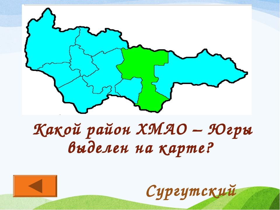 Какой район ХМАО – Югры выделен на карте? Сургутский