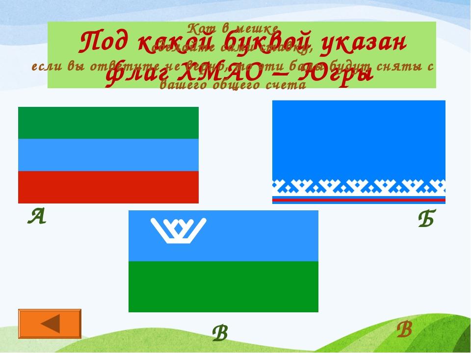 Под какой буквой указан флаг ХМАО – Югры В А Б В Кот в мешке сделайте сами ст...
