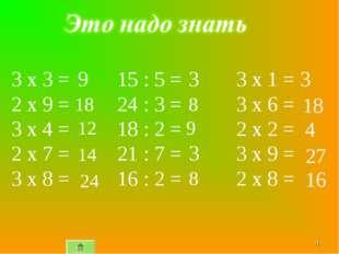 * 15 : 5 = 24 : 3 = 18 : 2 = 21 : 7 = 16 : 2 = 3 x 3 = 2 x 9 = 3 x 4 = 2 x 7