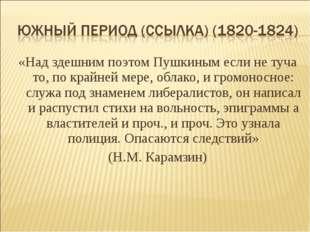 «Над здешним поэтом Пушкиным если не туча то, по крайней мере, облако, и гром