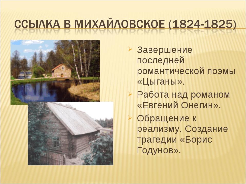 Завершение последней романтической поэмы «Цыганы». Работа над романом «Евгени...