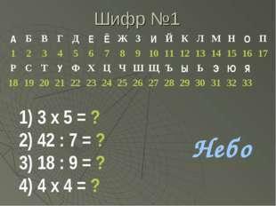 Шифр №1 3 х 5 = ? 42 : 7 = ? 18 : 9 = ? 4 х 4 = ? Небо АБВГДЕЁЖЗИЙ
