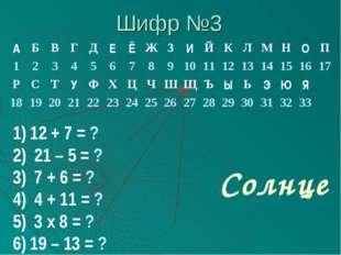 Шифр №3 12 + 7 = ? 21 – 5 = ? 7 + 6 = ? 4 + 11 = ? 3 х 8 = ? 19 – 13 = ? Солн
